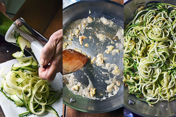 Step-by-step photos showing how to make sauteed garlic zoodles side dish for Keto Chicken Parm