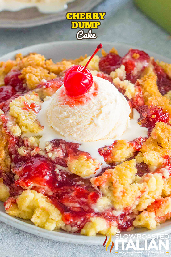 cherry dump cake with a scoop of vanilla ice cream