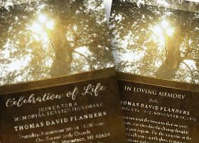 golden tree celebration of life memorial invitation