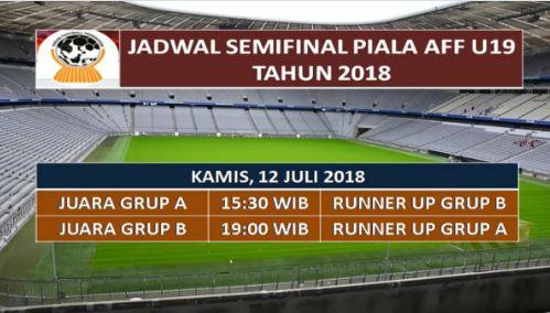 Jadwal Semifinal Piala AFF U-19 Kamis 12 Juli 2018