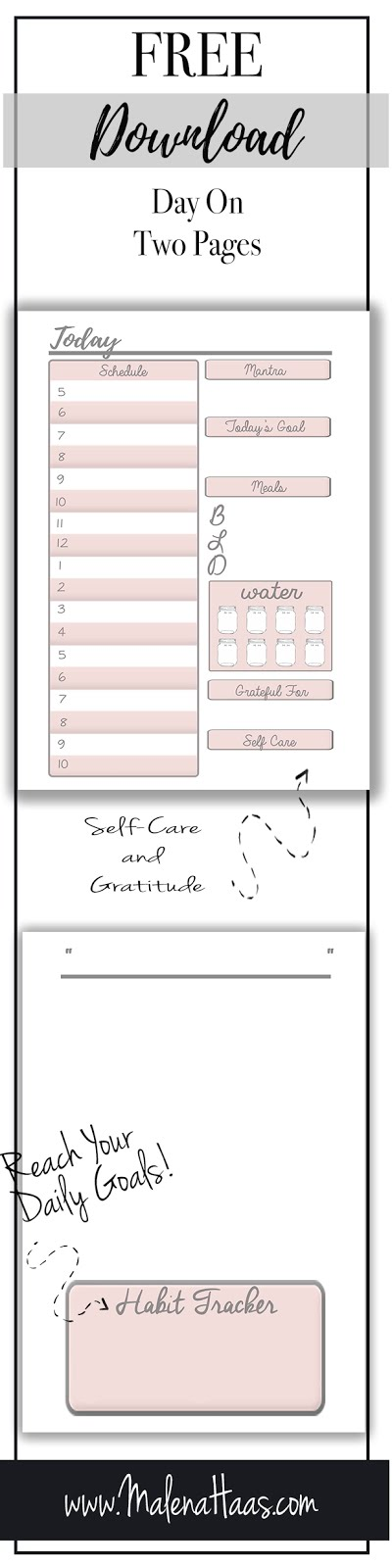 Free Download Day On Two Pages Planner Insert Download http://www.malenahaas.com/2018/03/freebie-friday-day-on-two-pages.html