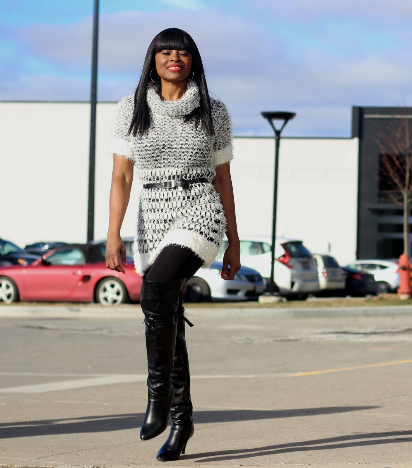 what to wear in winter from day to night in winter: sweater dress + leggings + over-the-knee boots