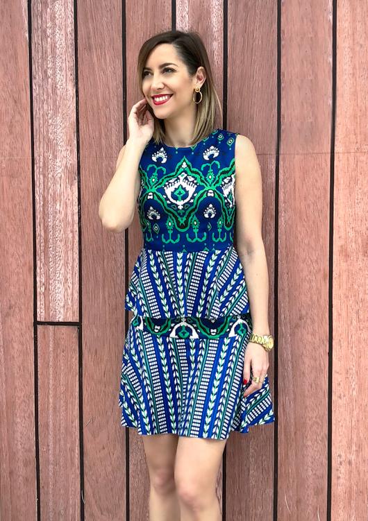 Fitness And Chicness-Vestido estamapado azul y verde-Vestido y Tacon-6