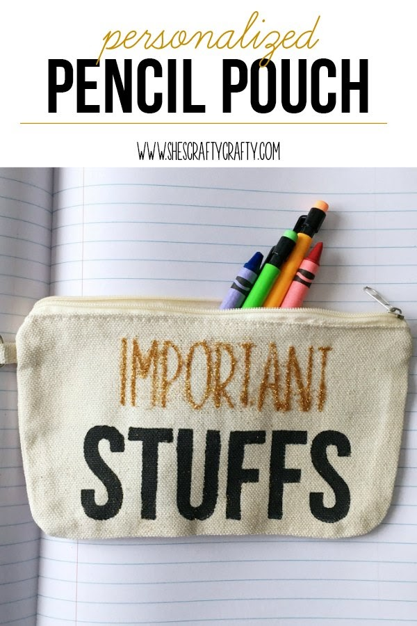 How to make a Personalized Pencil Pouch- canvas zipper bag made with glitter paint and fabric paint