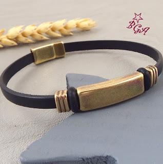 Kit bracelet cuir fin noir et bronze homme