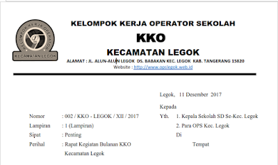 Surat undangan rapat kerja kko desember 2017