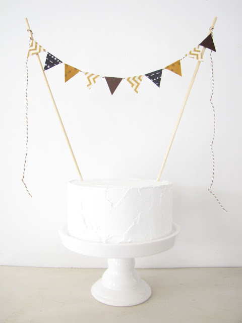 Egyptian Theme Cake Topper - Fabric Cake Bunting - Wedding, Birthday Party, Shower Decoration - ancient egypt archaeology party gold dots chevron black brown geometric tribal athenaandeugenia
