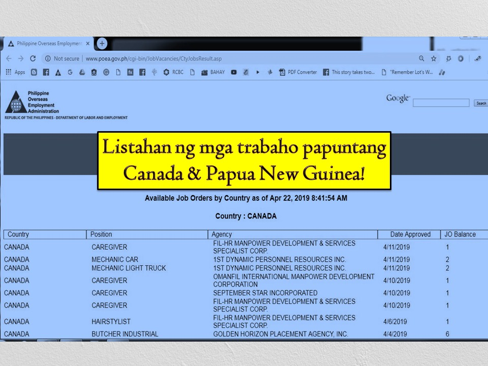 Looking for job opportunities abroad? If yes then consider the following job orders from the Philippine Overseas Employment Administration (POEA) to Canada and Papua New Guinea.  The following jobs bound to Canada come with Labour Market Impact Assessment (LMIA). An LMIA is a document from Employment and Social Development Canada that gives the employer permission to hire a temporary worker. Canada is in need of the following; caregiver, hairstylist, industrial butcher, food service supervisor, apiary technician, and welders.  On the other hand, Papua New Guinea is also hiring Filipino workers. Job orders available for Filipinos are the following — electrical supervisor, planner maintenance, hydraulic technician among others. Check below for the complete list of POEA approved jobs to Canada and Papua New Guinea as of April 2019!   Jbsolis.com is NOT a recruitment agency and we are NOT processing nor accepting applications for jobs abroad. All information in this article is taken from the website of POEA — www.poea.gov.ph for general purposes only. Recruitment agencies are being linked to each job order so that interested applicants may know where to coordinate and apply for their desired position.  Interested applicant may double-check the job orders as well as the license of the hiring recruitment agencies in the POEA website to make sure everything is legal.