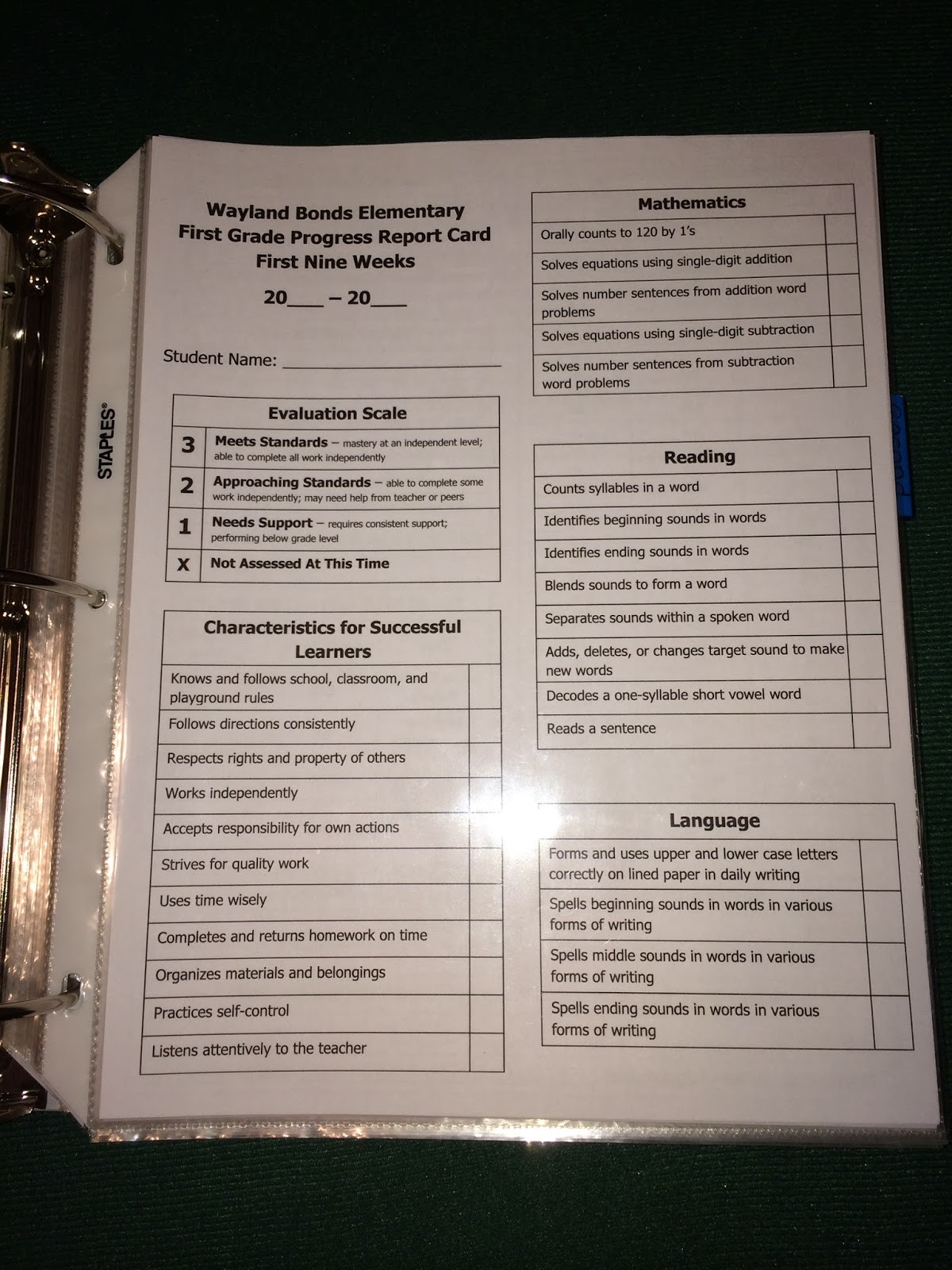 Teaching with terhune first grade report card assessments for First grade progress report template