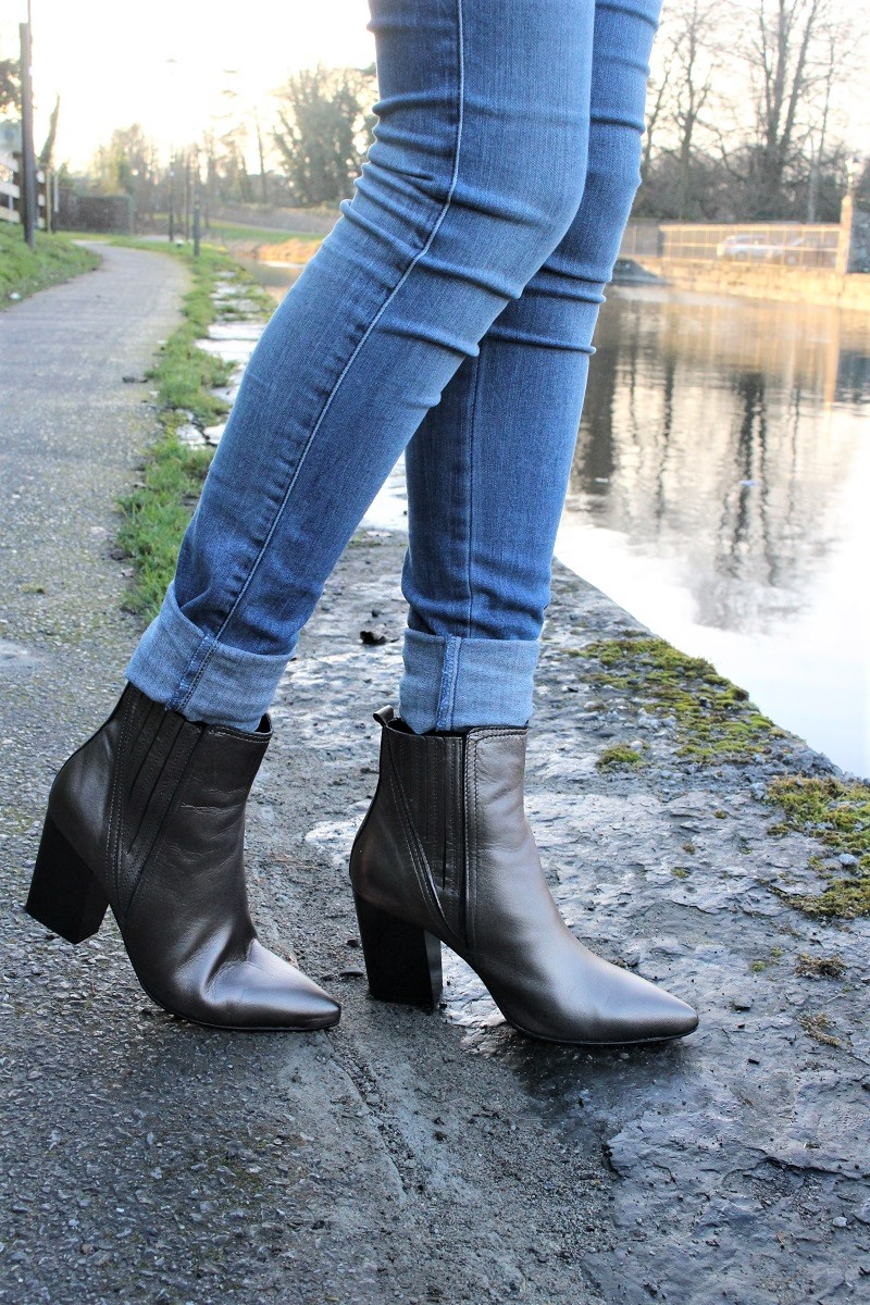metallic boots, kurt geiger, leather boots