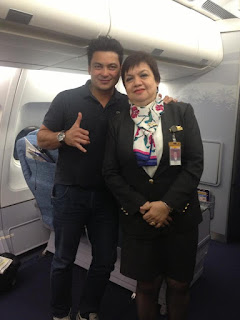 Philippine Airlines flight attendant Gloria Oya Pido with actor Gabby Concepcion.
