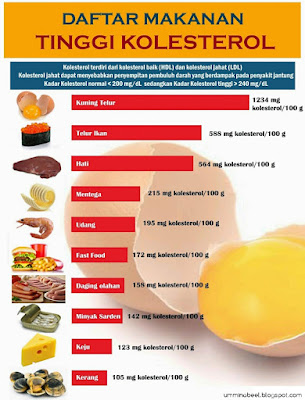 Makanan yang tinggi kandungan kolesterol