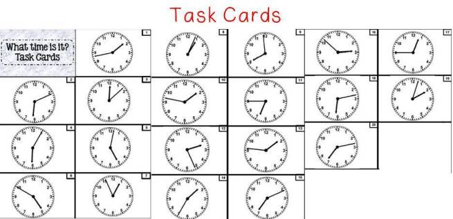 The Math Magazine: Task Cards Telling Time with Clocks