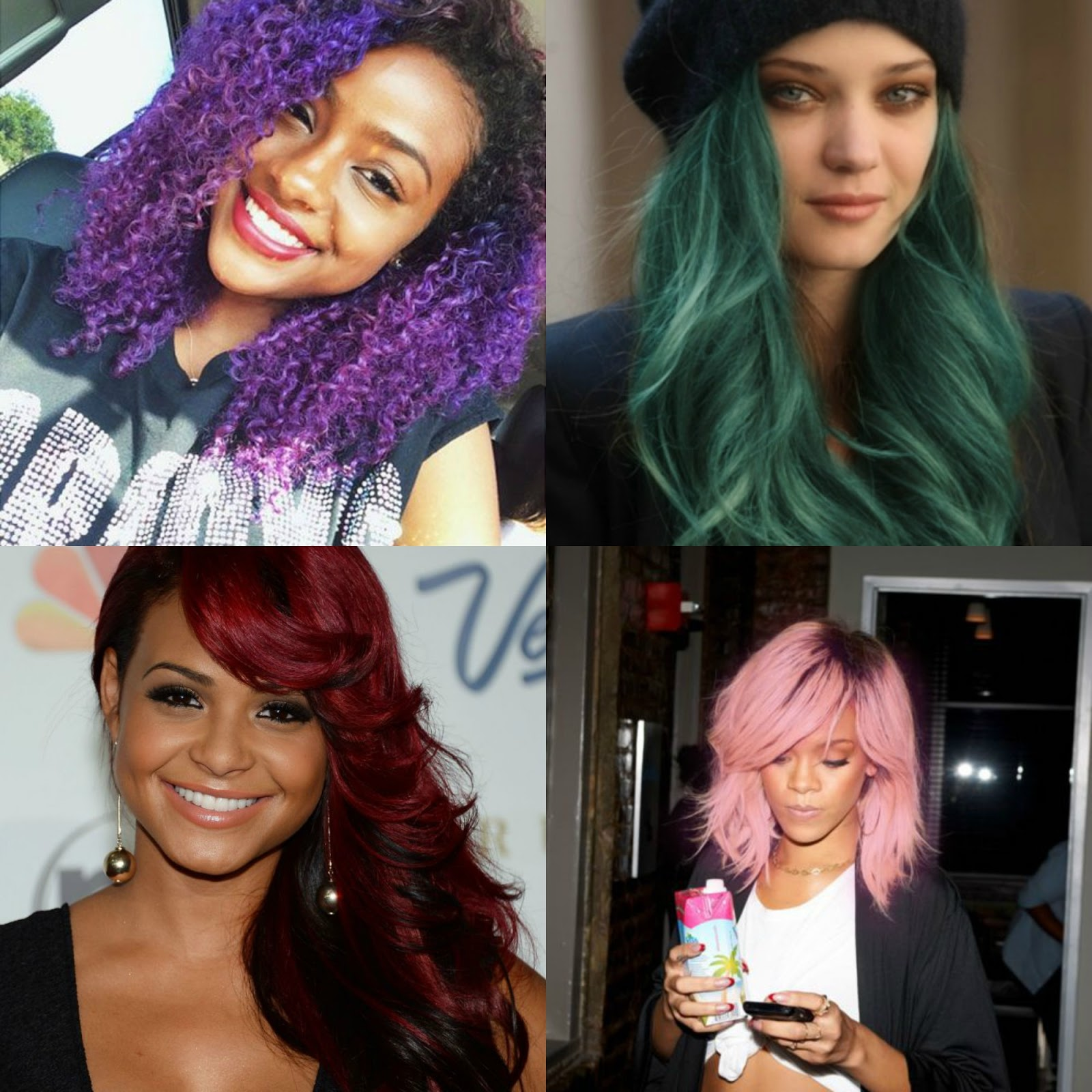 Colores de cabello fantasia para piel morena