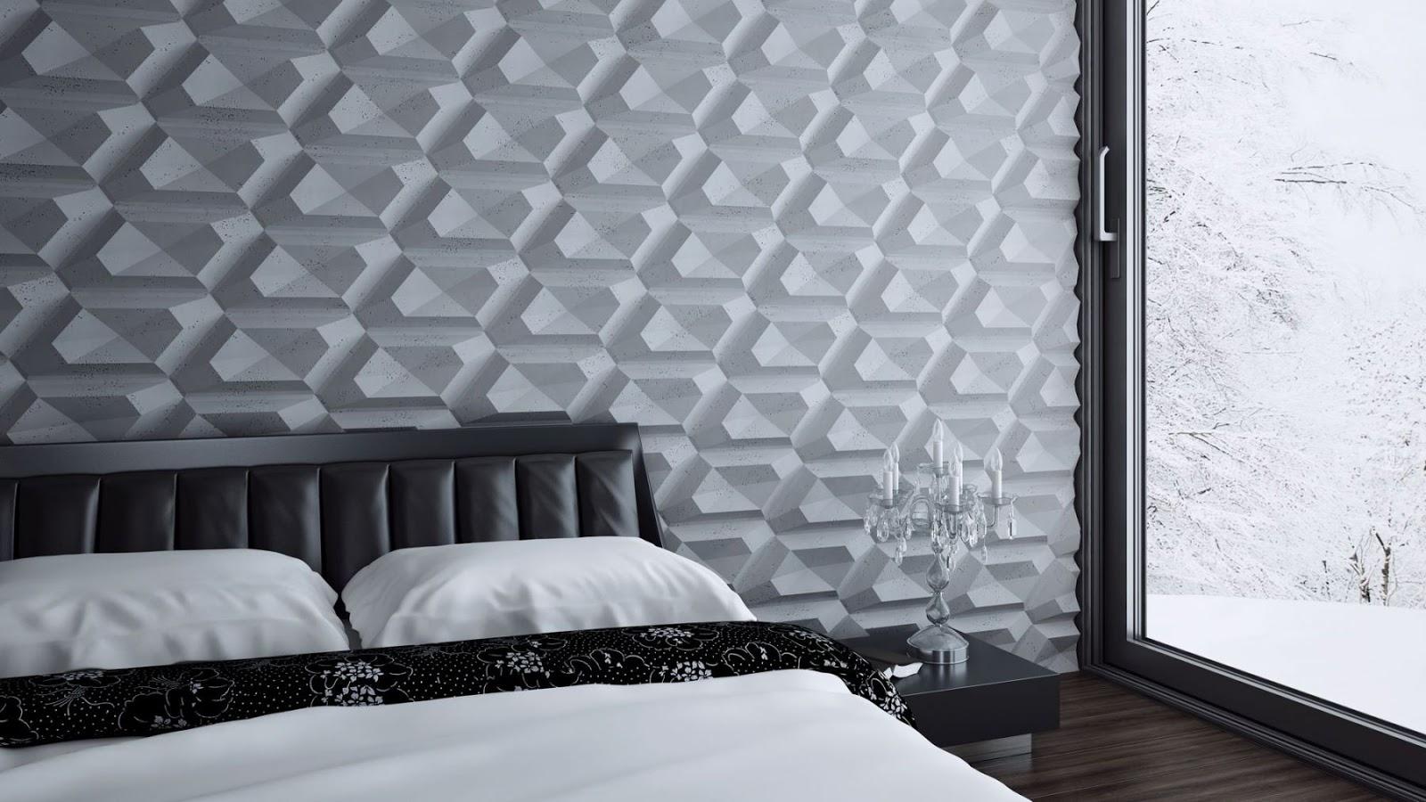 Pomysł na nowoczesną aranżację wnętrza -  betonowe płyty architektoniczne i panele 3D.
