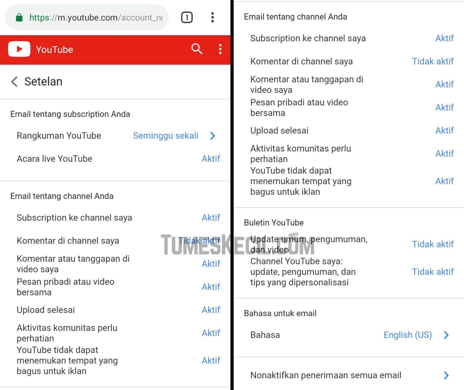 cara agar notif di youtube tidak muncul di email