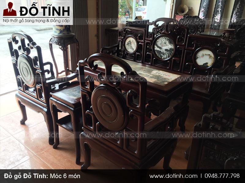 Hoàn thiện bàn ghế gỗ móc 6 món đẹp mê ly