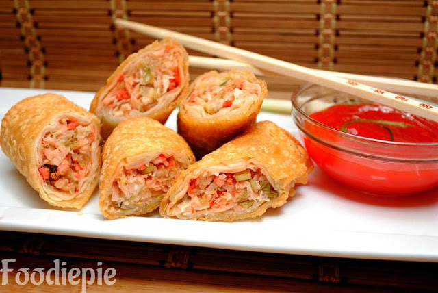 Vegetable Spring Rolls | Crispy Vegetable Spring Rolls with Spicy Chutney
