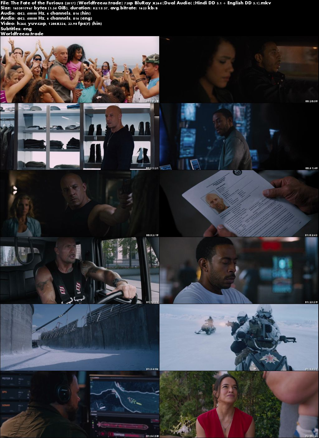 Screen Shoot of Fast and Furious 8 (2017) Full Hindi Movie Download Dual Audio BRRip 720p