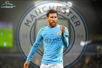 gambar Heboh Lionel Messi berseragam Manchester City