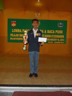 Juara puisi pelajar SMA/Sederajat tingkat Kodim 0275 Sragen
