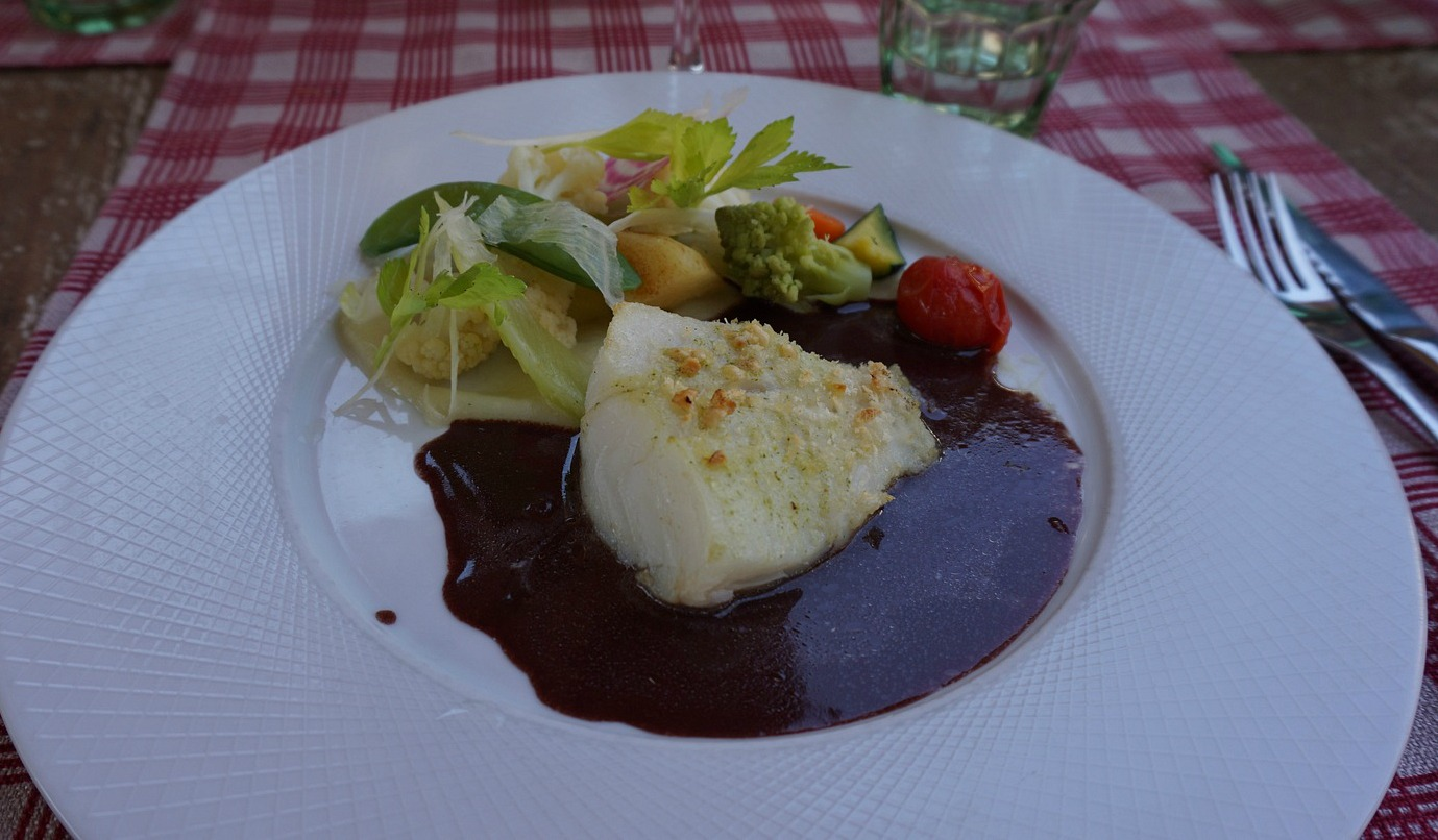 Cod and red wine sauce and vegetables Chateau de Berne Bistro