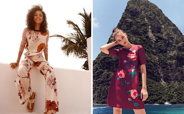 Высокие модели в платьях с крупным цветочным принтом