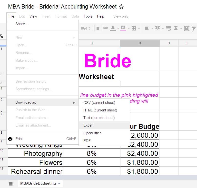 wedding budget The MBA Bride - wedding budget estimates