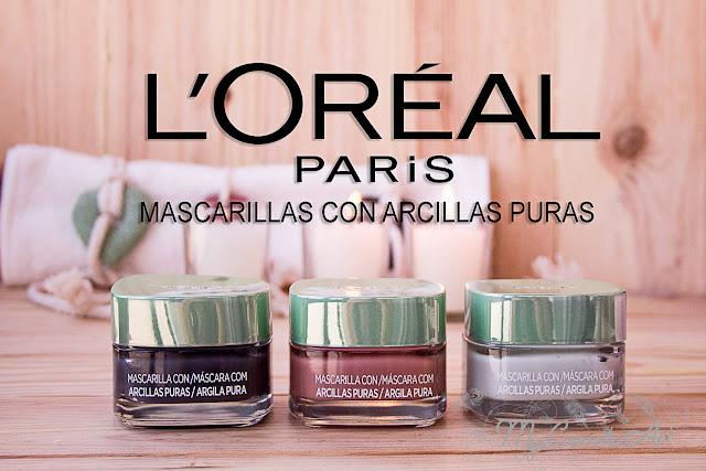 Nuevas mascarillas faciales de arcillas puras de L'Oreal: verde, roja y negra.
