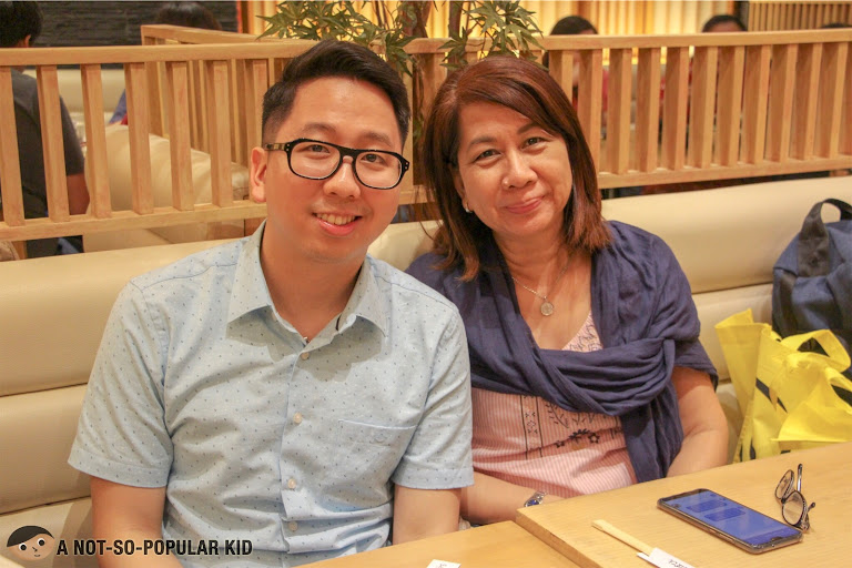 Birthday boy Renz Cheng with his mom in Saboten