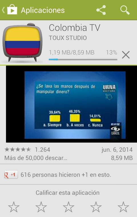 Instalación de Colombia TV en el Smartphone