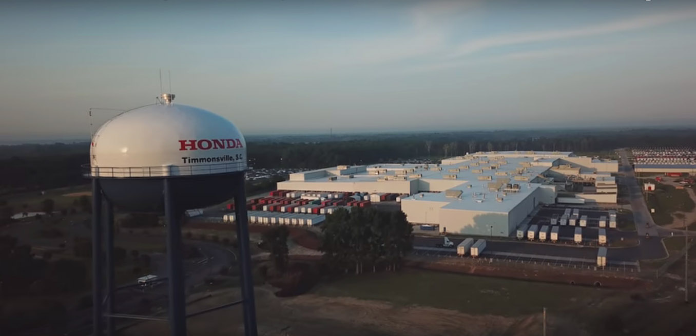 Aerial View Of Honda Of South Carolina In Timmonsville, SC.