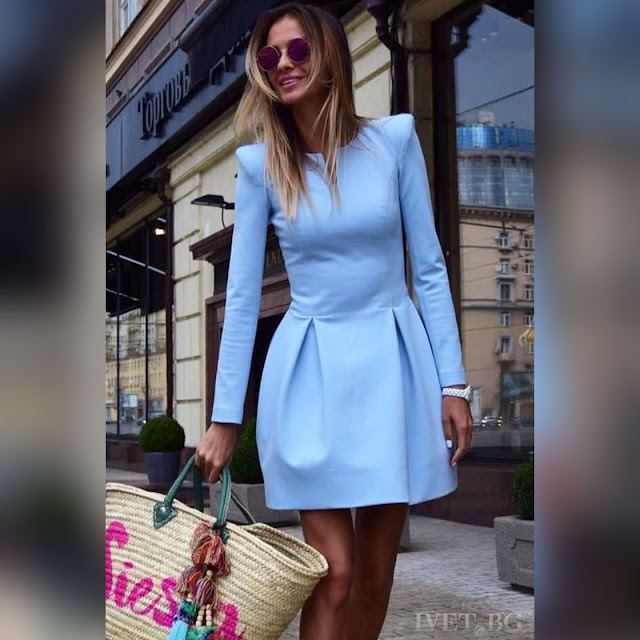 Μακρυμάνικο κοντό γαλάζιο φόρεμα BLUENA SKY