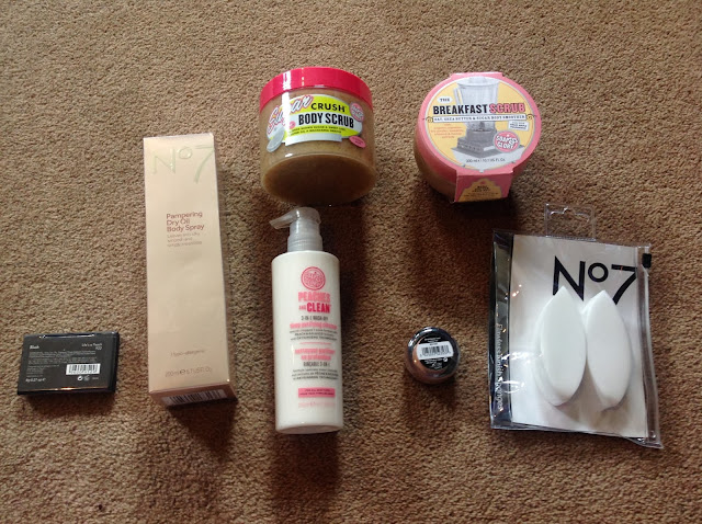 flat lay of no7 products and soap and glory