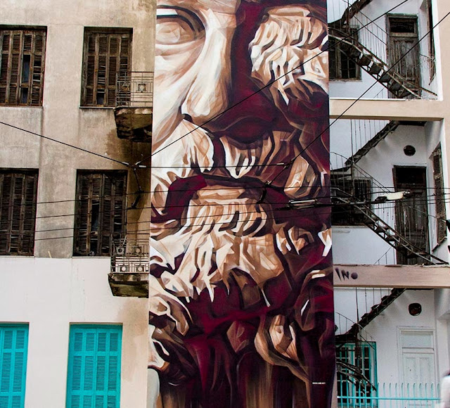 """""""System Of A Fraud"""" New Urban Art Mural By Greek Artist Ino1 In Athens. close up"""