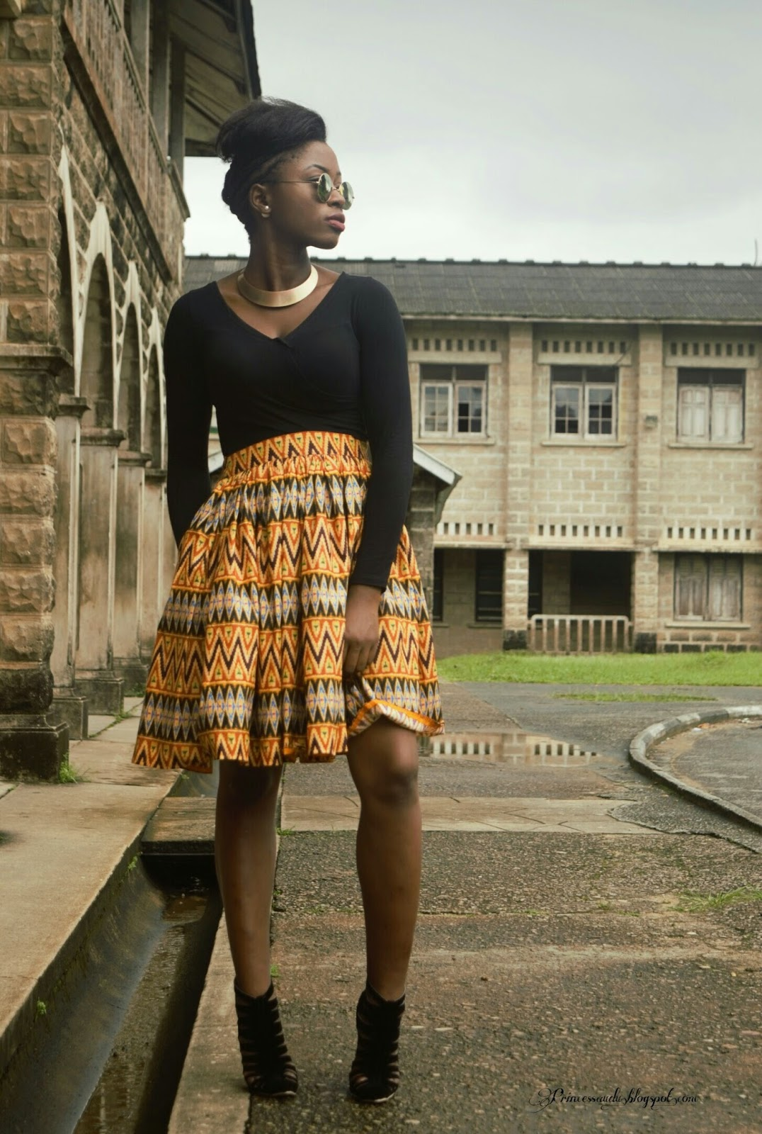 ankara, african print, african inspired, skater skirt, collar necklace, nigeria ankara designs