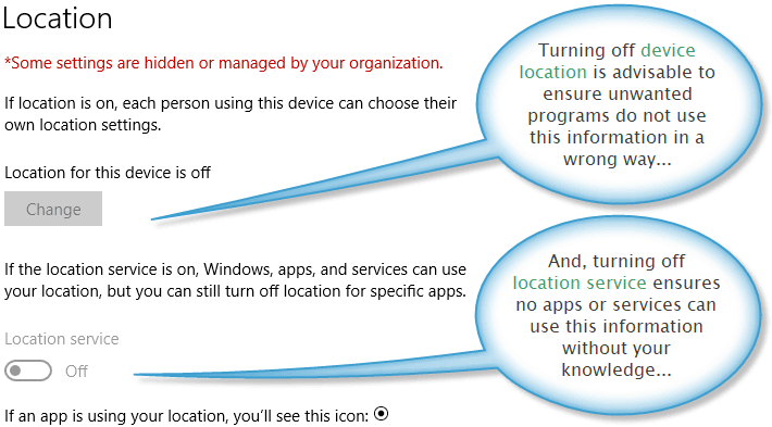 Location privacy settings for Windows 10