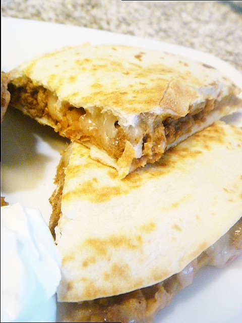 Beefy Quesadillas - perfect use for leftover taco meat.  Delishhh! - Slice of Southern