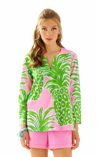 lilly pulitzer amelia island tunic flamenco pineapple print