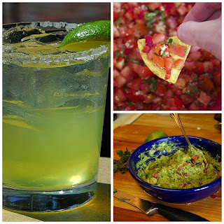Margarita, salsa, and guacamole