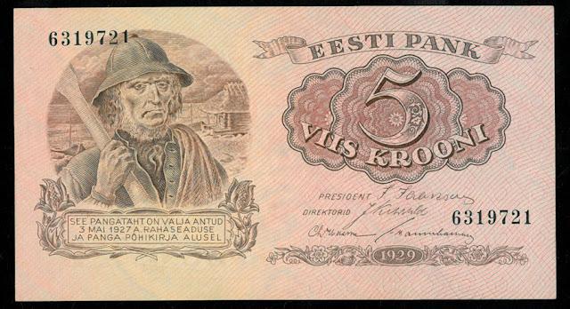 World money 5 Estonian Krooni banknote bill