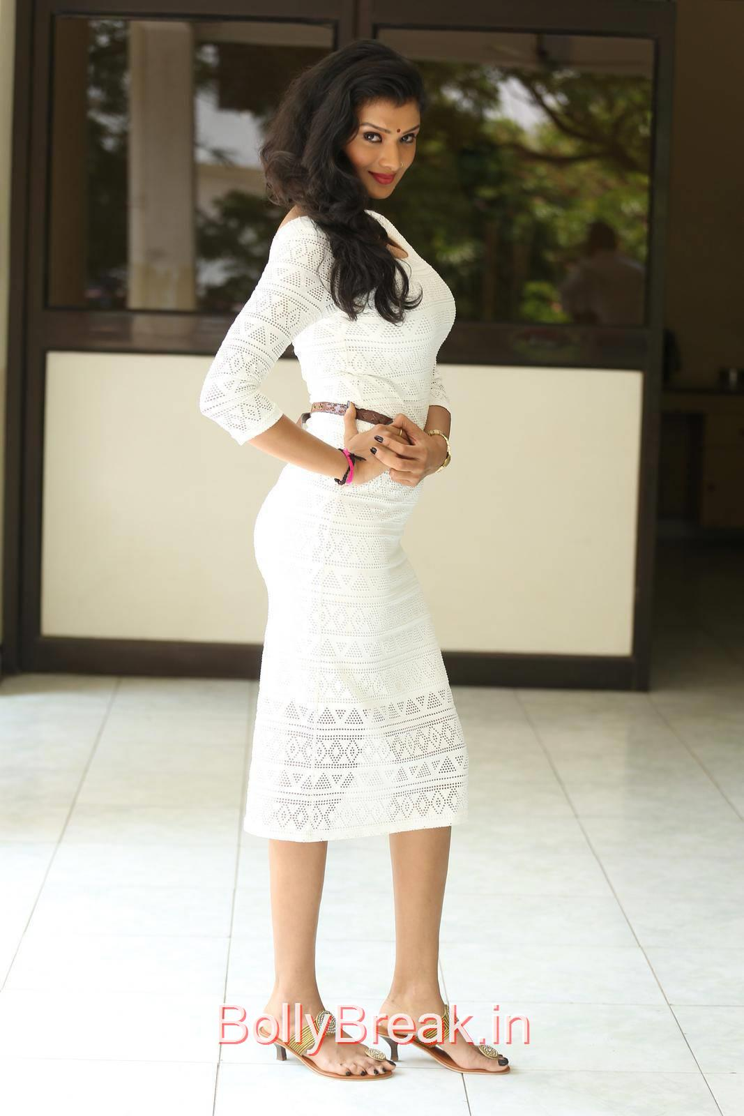 Telugu Actress Ishita, Actress Ishita Standing Full Size HD Hot Pics in White Dress