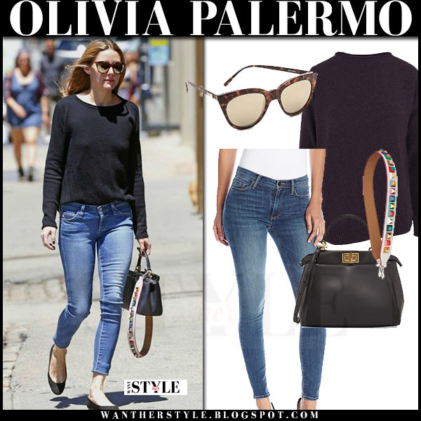 Olivia Palermo in black quinn luna sweater skinny jeans fendi peekaboo bag and strap what she wore streetstyle
