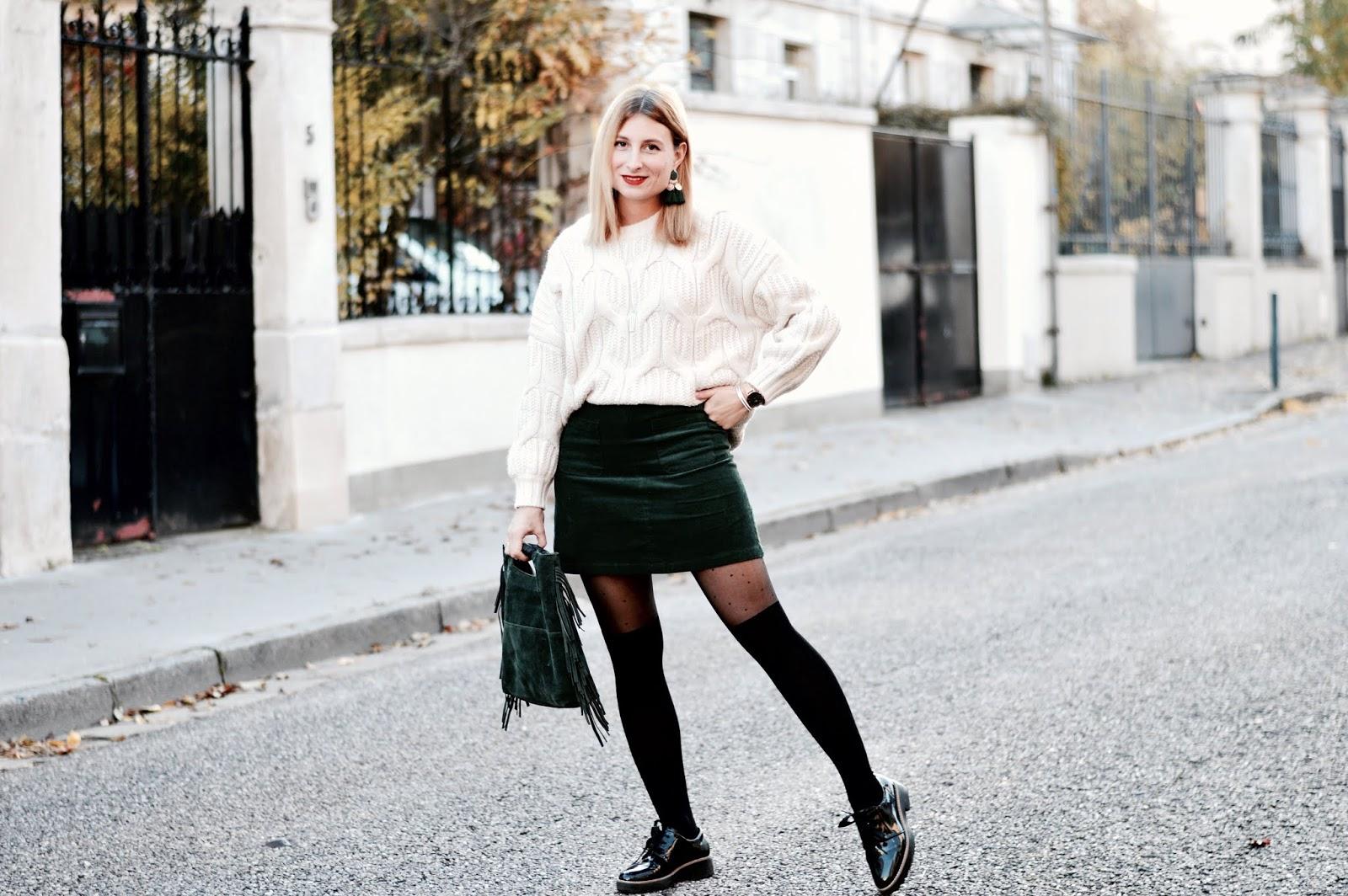 Look femme automne : grosse maille et jupe velours côtelé et collant fantaisie