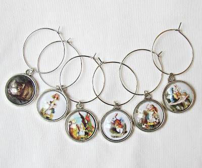 alice in wonderland white rabbit cheshire cat wine glass charms vintage domum vindemia earrings