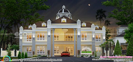 1278 square yards Kerala mansion in Colonial style
