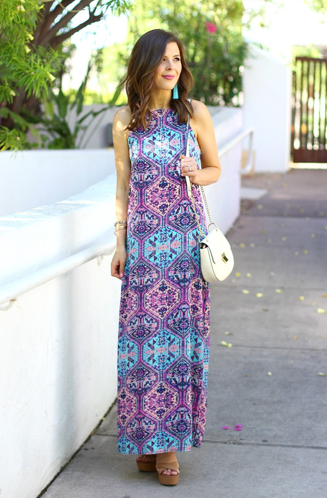Printed Maxi Dress & Turquoise Tassels