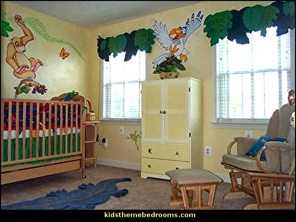 Decorating theme bedrooms maries manor jungle baby for Baby mural ideas