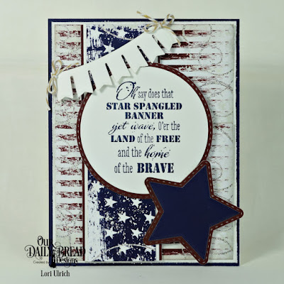 Our Daily Bread Designs Stamp Set: Let Freedom Ring, Paper Collection: Stars and Stripes: Custom Dies: Circles, Double Stitched Circles, Pennant Swag, Sparkling Stars, Double Stitched Stars