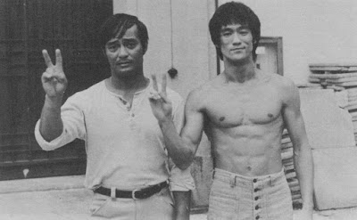 Dan Inosanto and Bruce Lee on the set of Game of Death.
